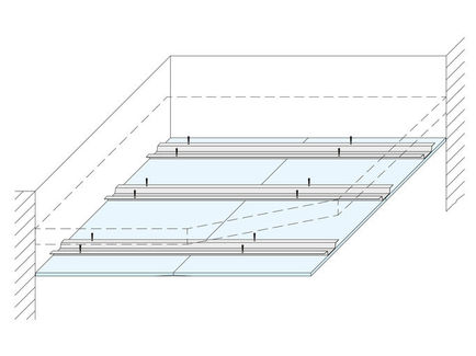 Techos continuos fijos para forjados macizos y entre vigas de forjados de madera